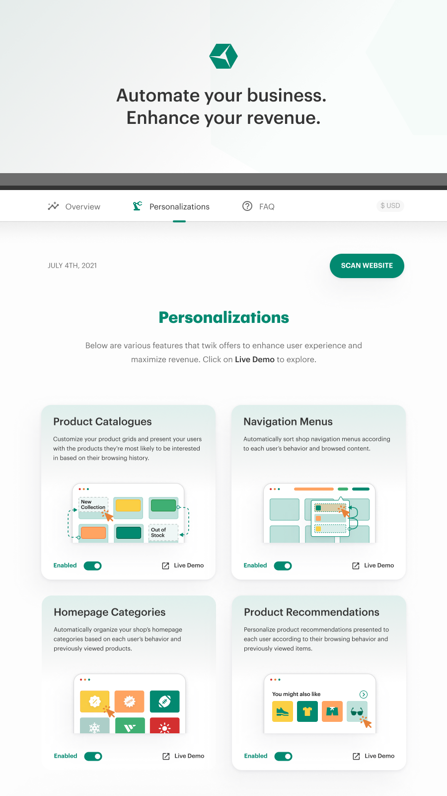 Enable twik and personalization automations in your shop