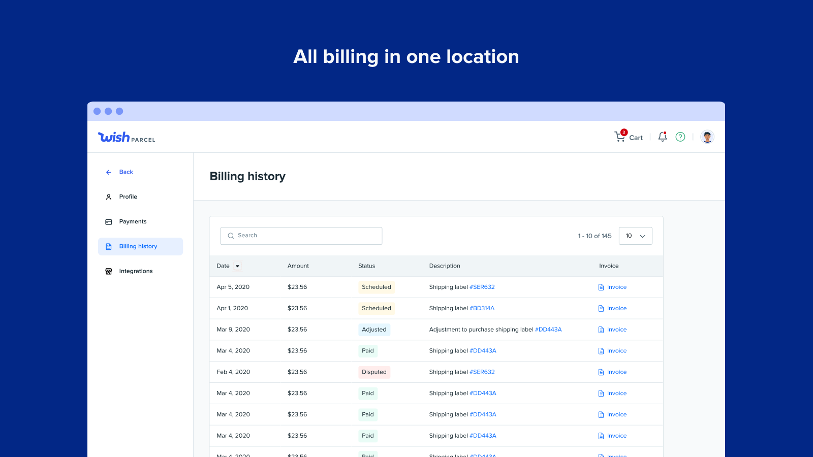 All billing in one location