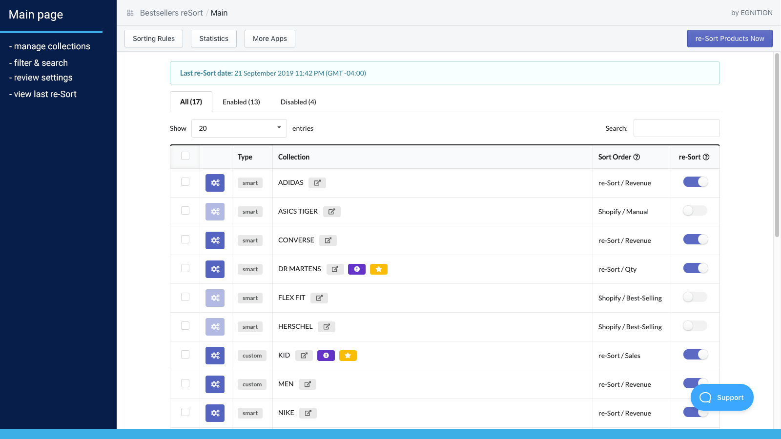 Main page. Manage collections, enable sorting & review setup.