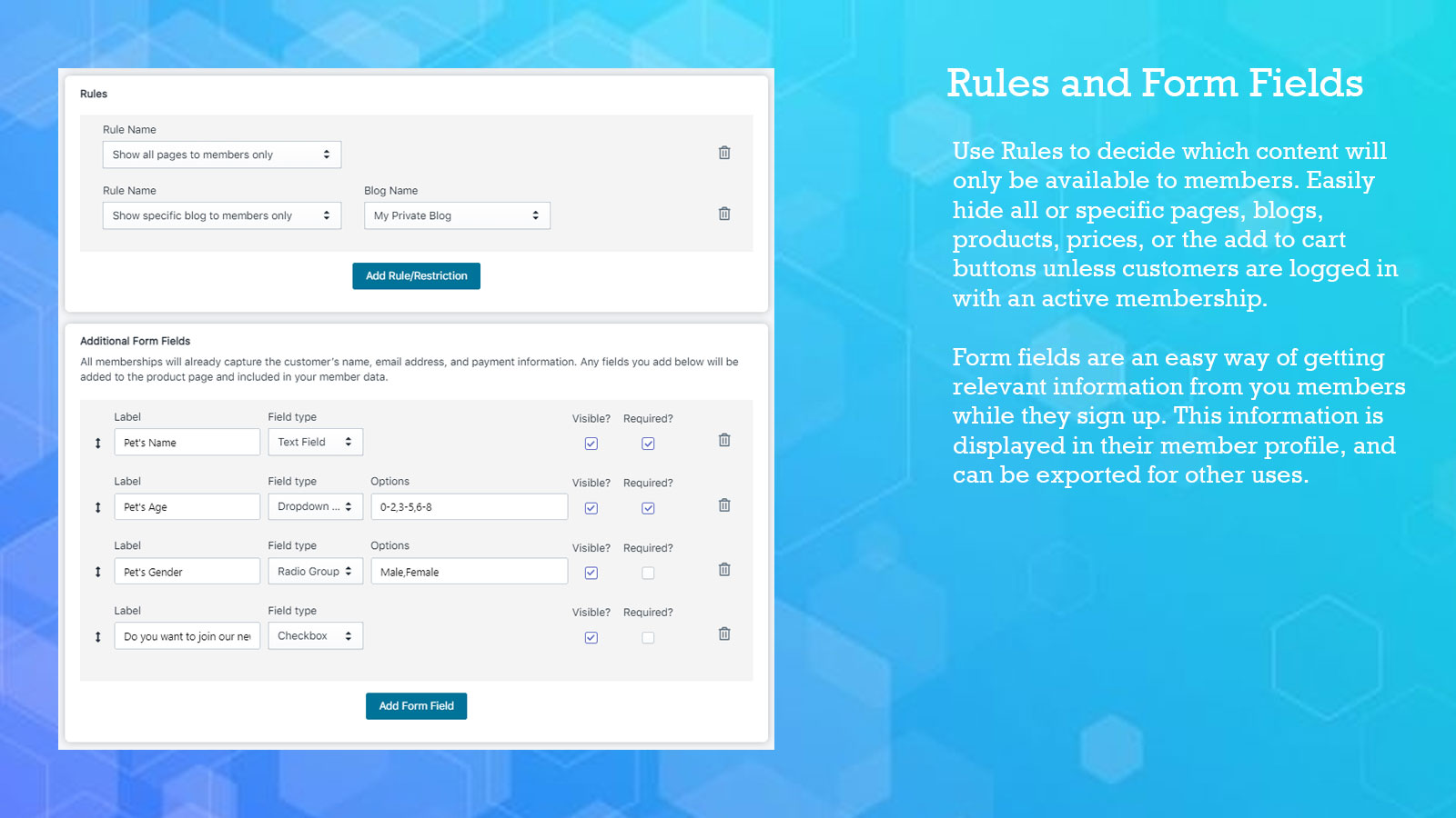 Create plans with rules and form fields