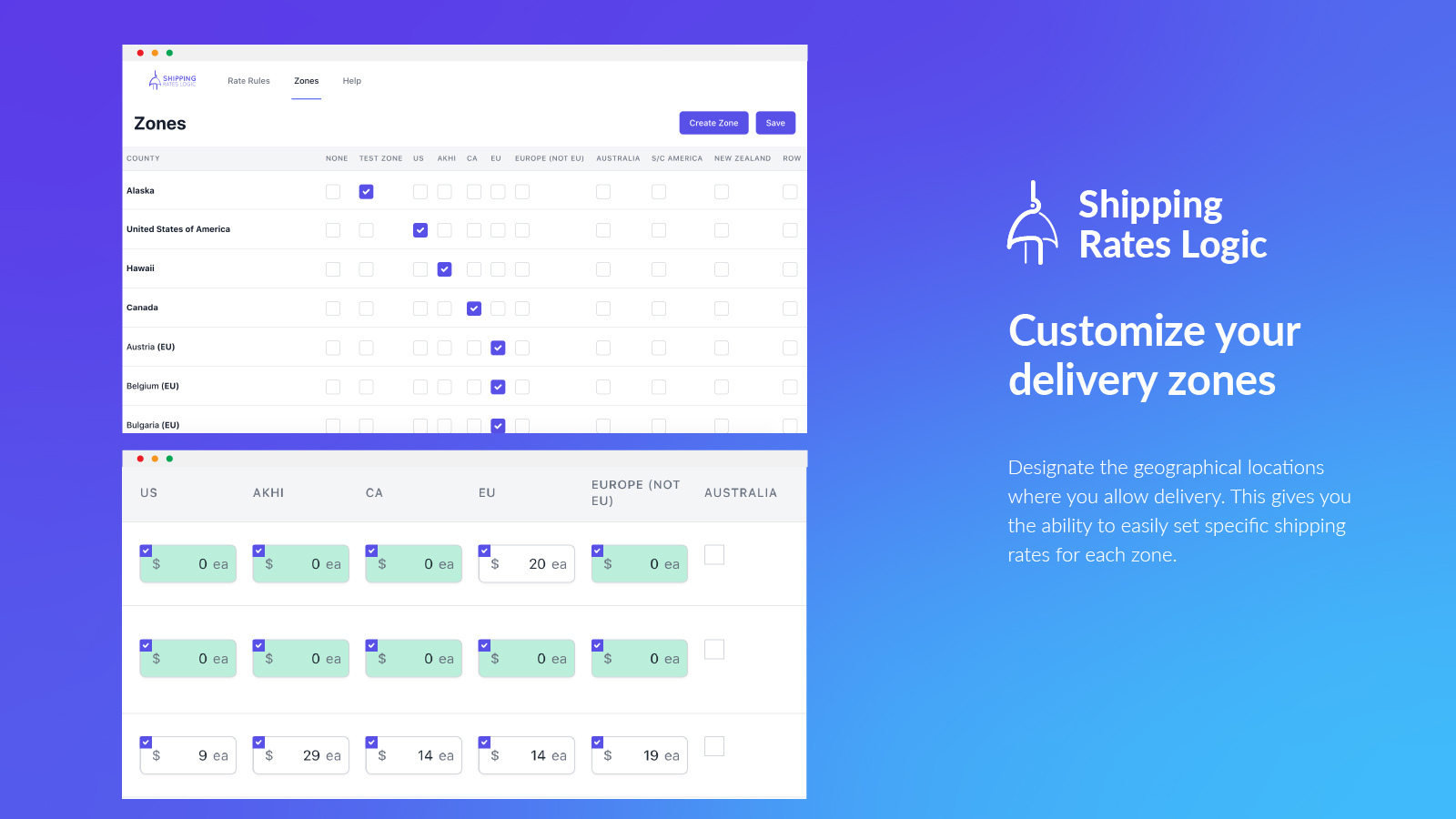 Select available delivery zones and set shipping rates by area.