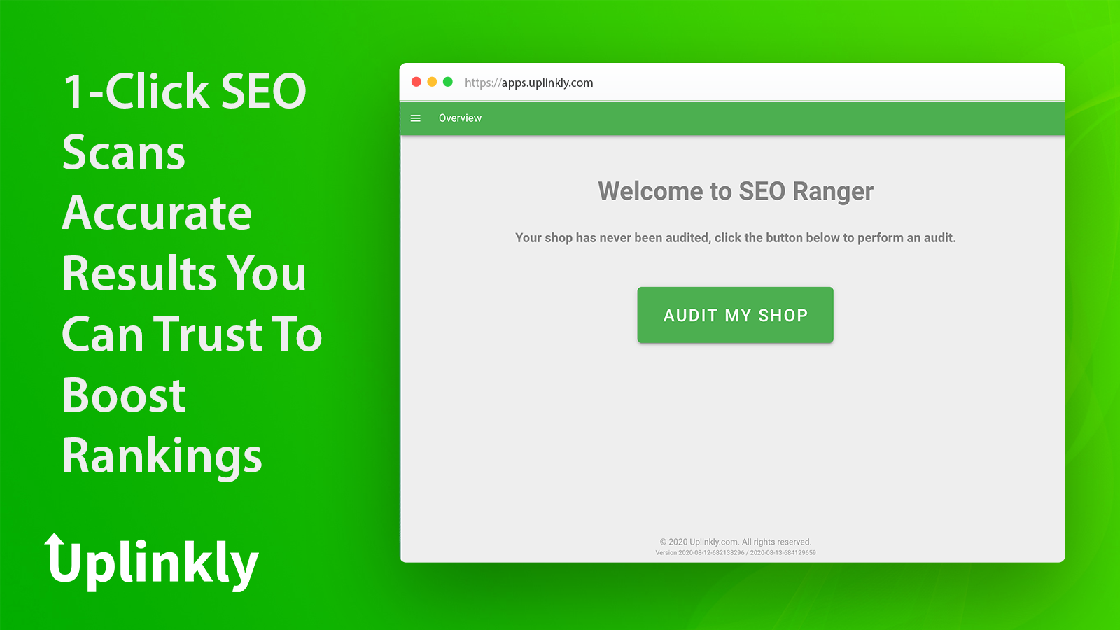 SEO Ranger Home Screen Simple 1-Click Audit Scans
