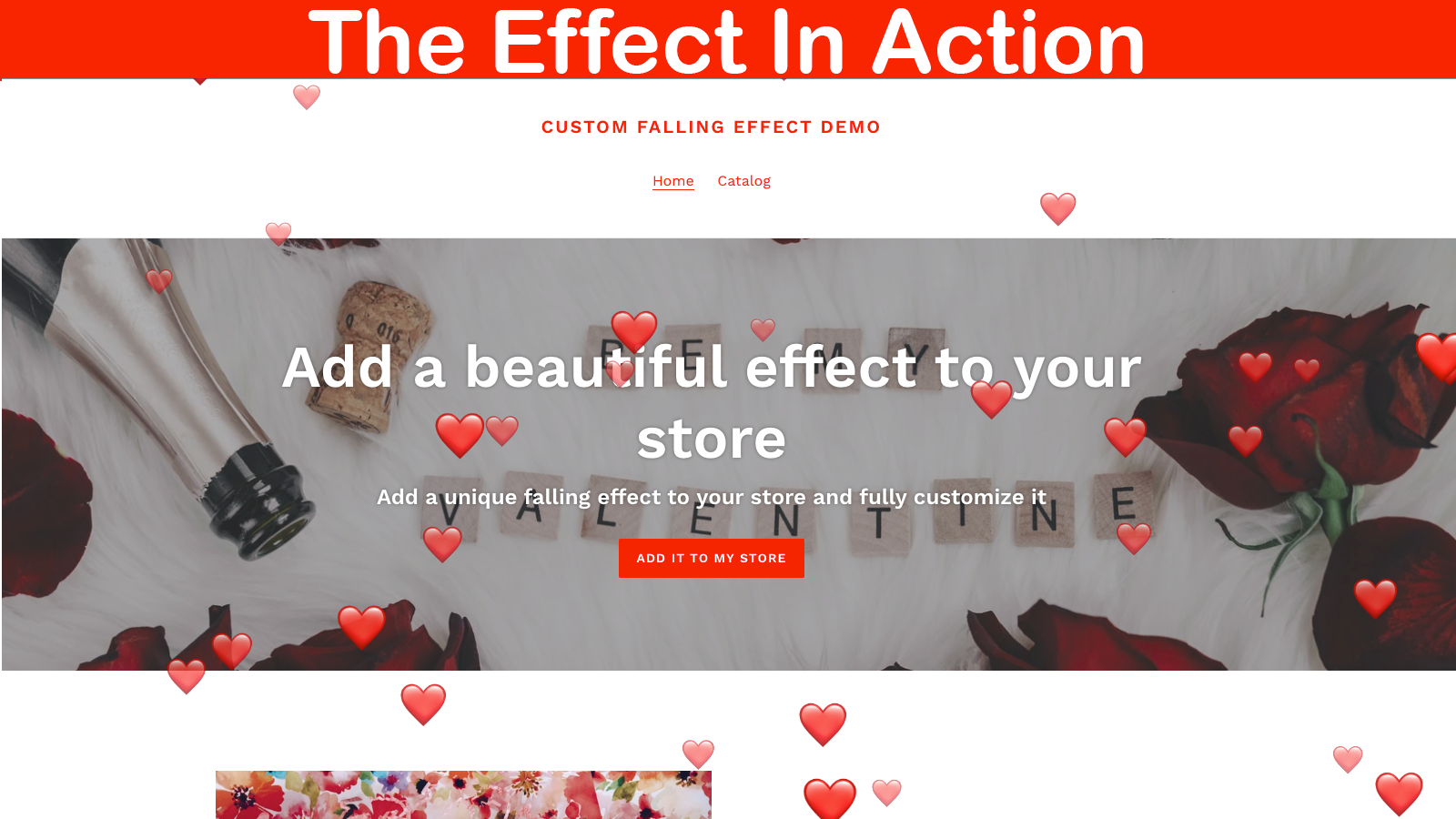 The falling effect can work in the index page only or store-wide