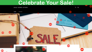 The falling effect in action with a SALE logo