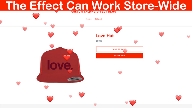 The falling effect working in a product's page