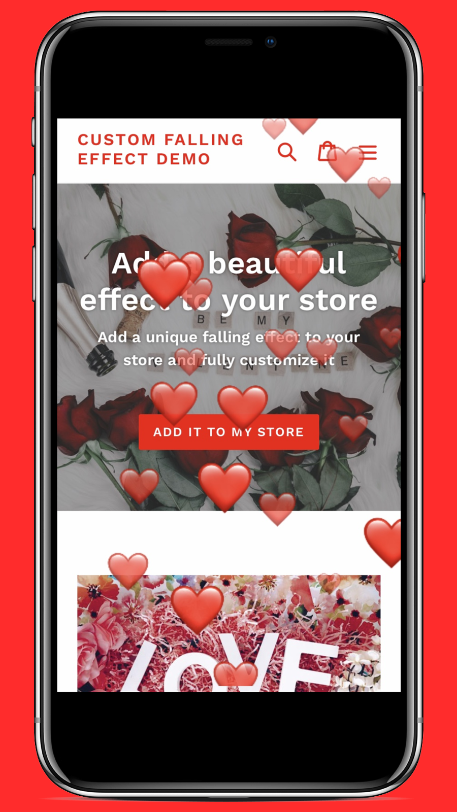 Mobile screenshot of the hearts Valentine's falling effect