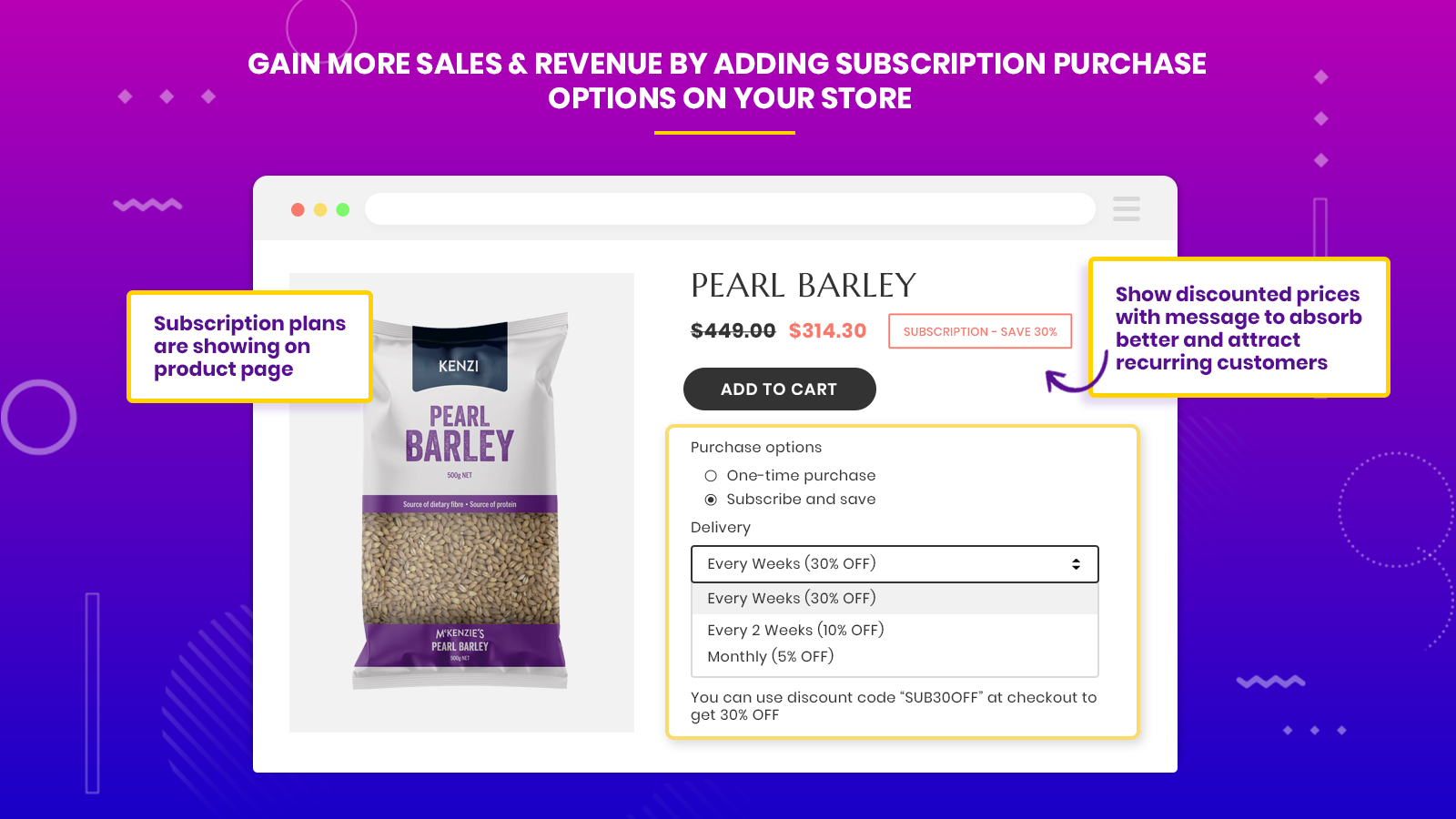 subscriptions and recurring pay product page