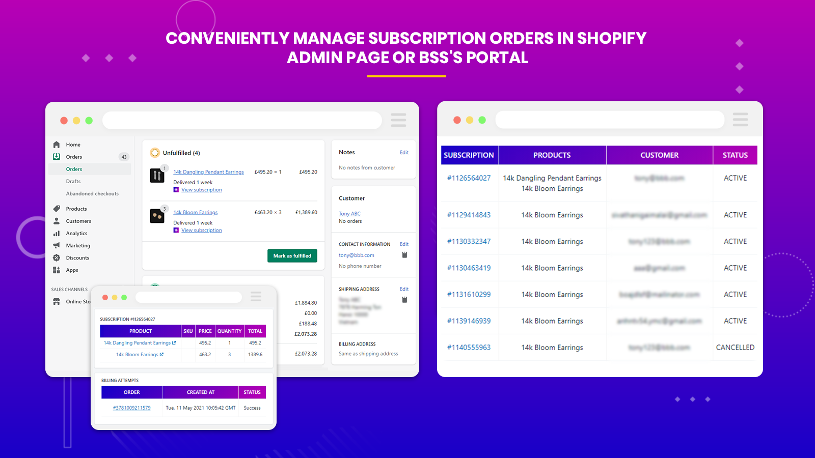 subscriptions and recurring manage customers & orders