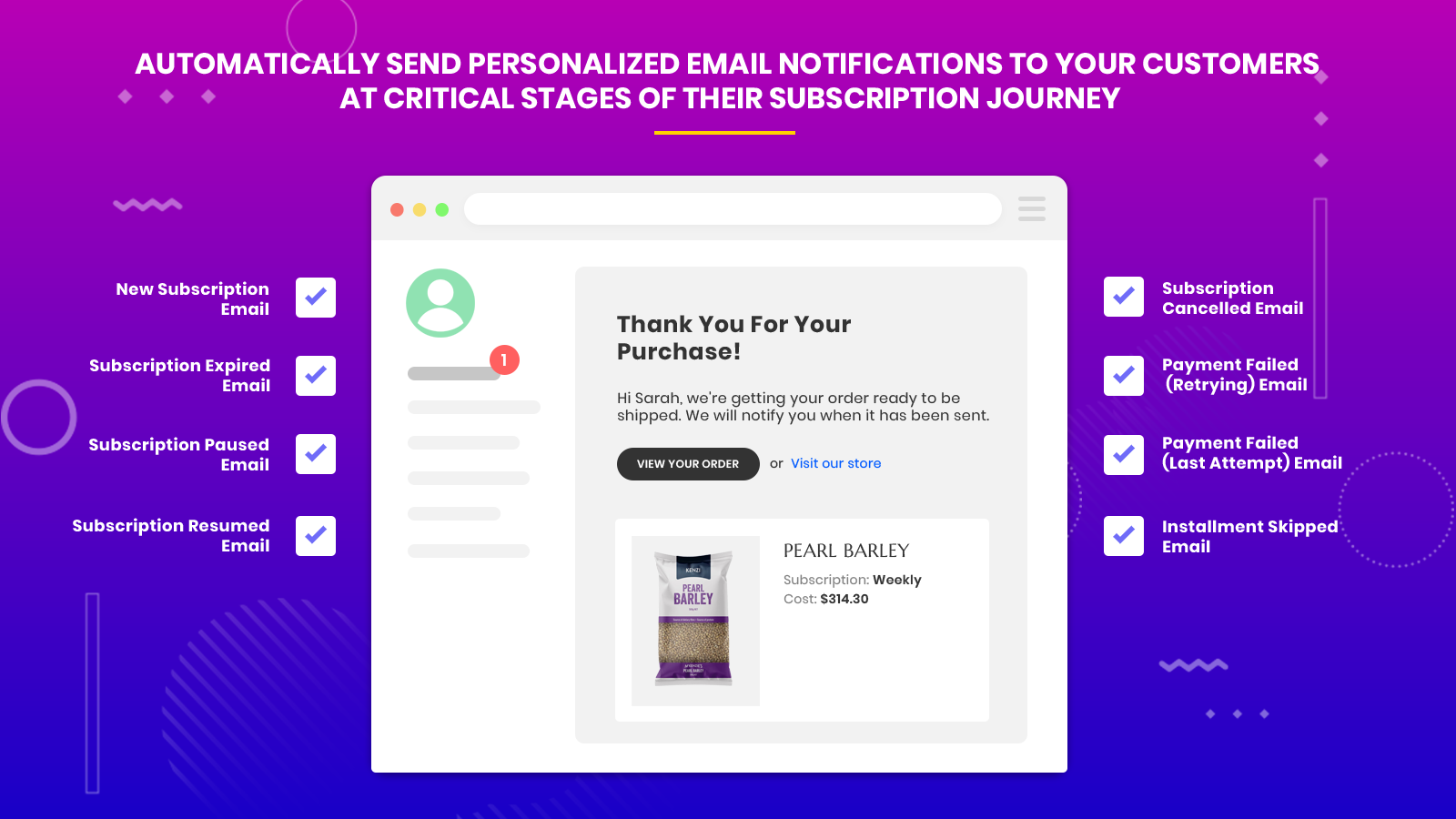 subscriptions and recurring pay email notifications