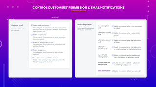 subscriptions and recurring manage customers permission & emails