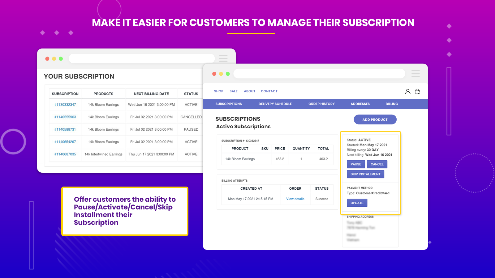 subscriptions and recurring pay customer portal