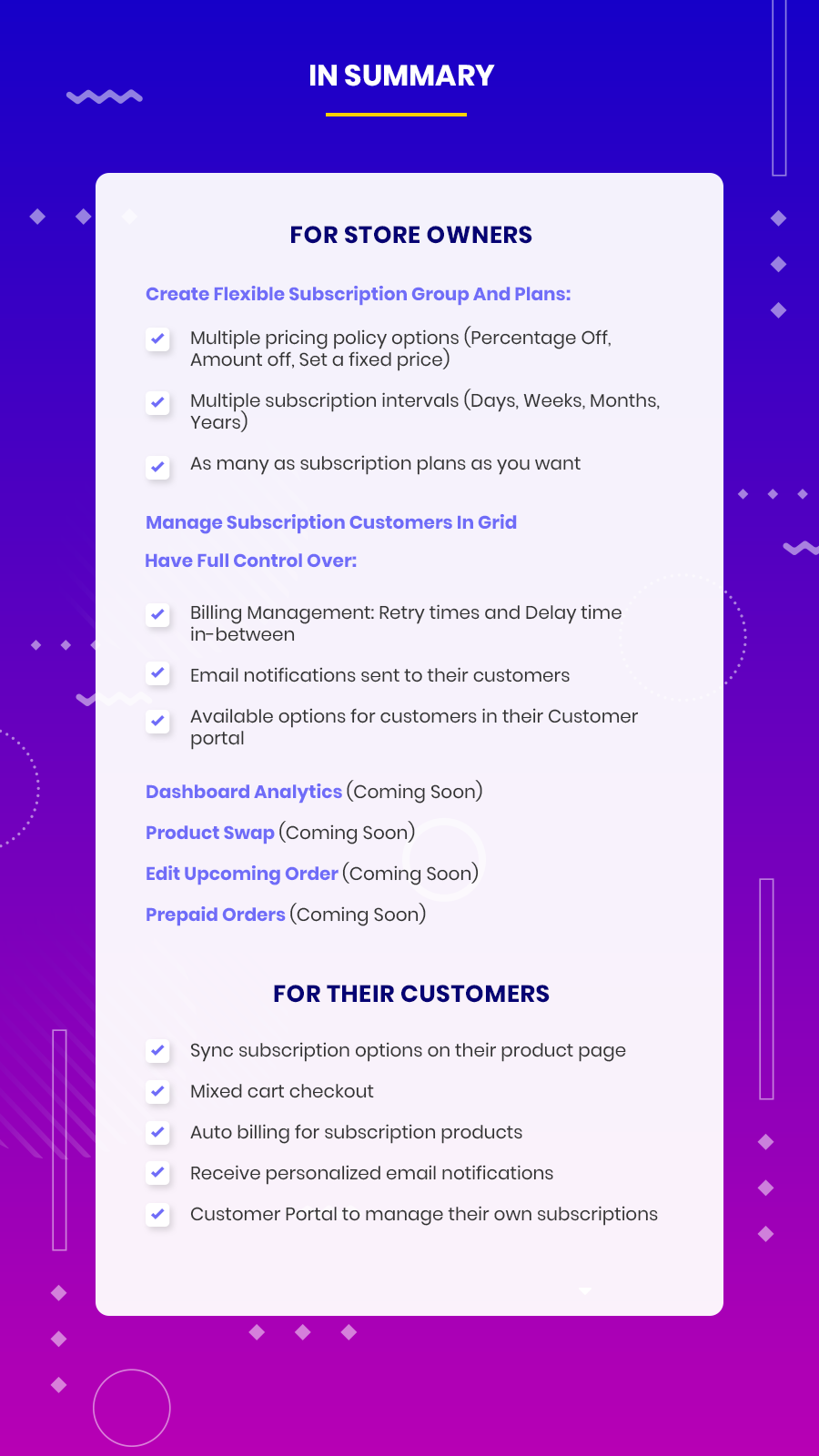 subscriptions and recurring pay full features & functionalities