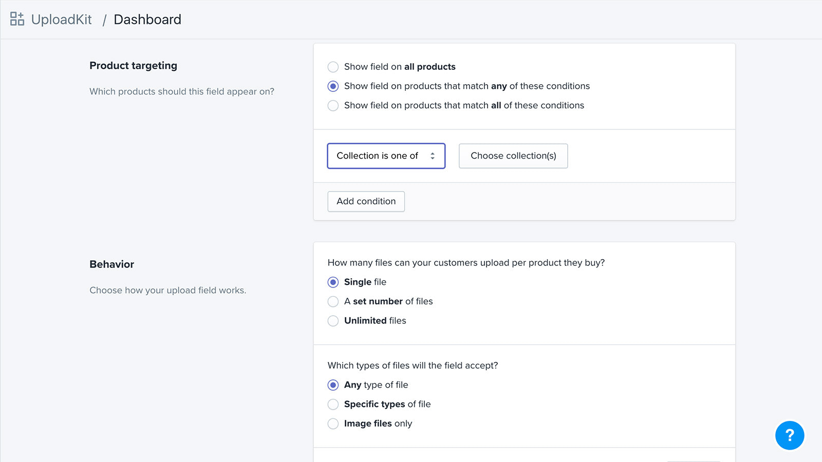Part of the admin interface showing some of the options