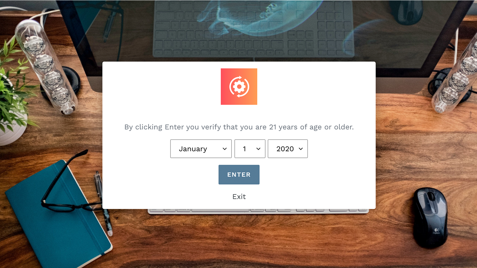 Preview of age widget set up on store front.