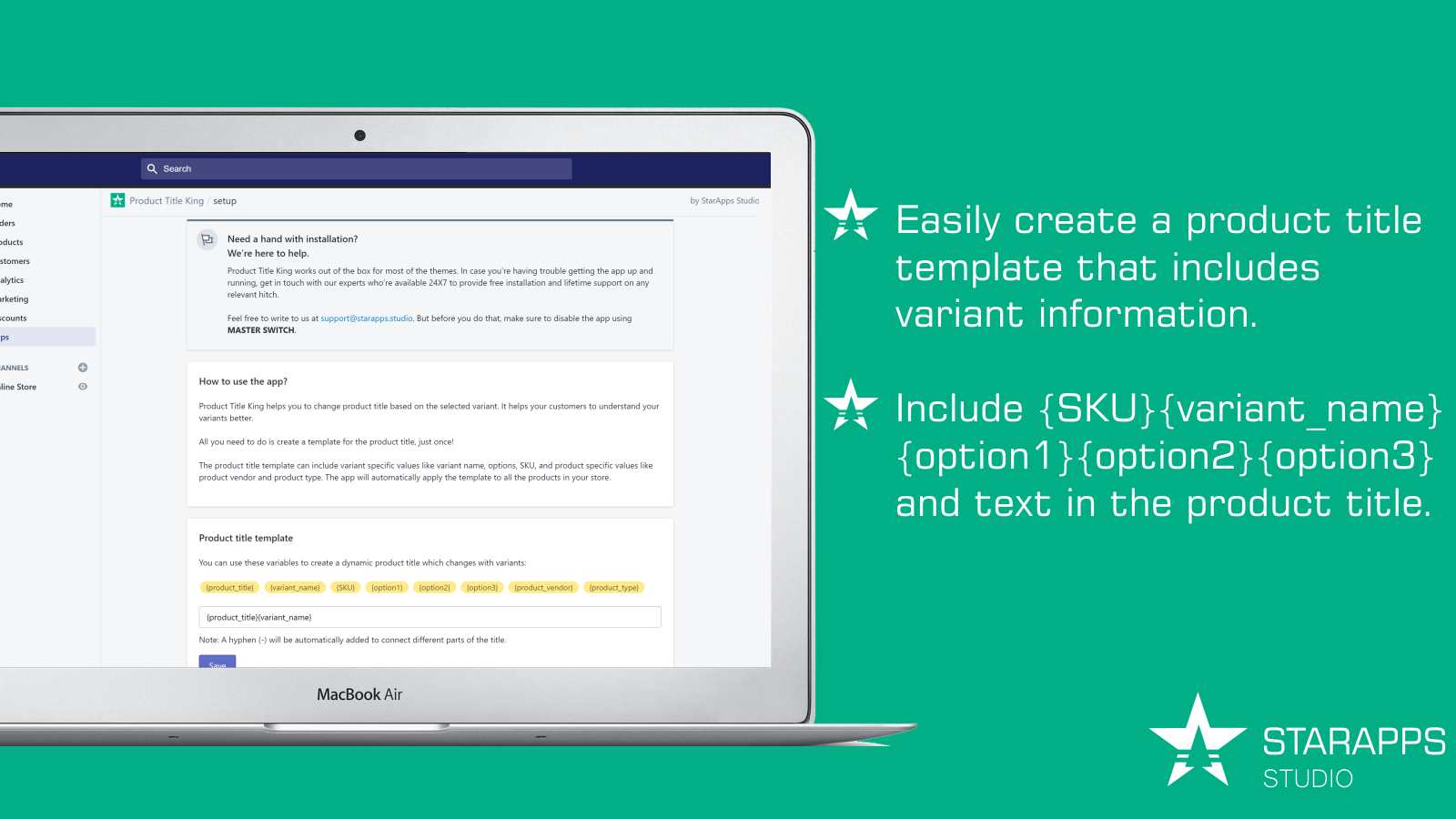 easy to configure product title template. variant, options, SKU