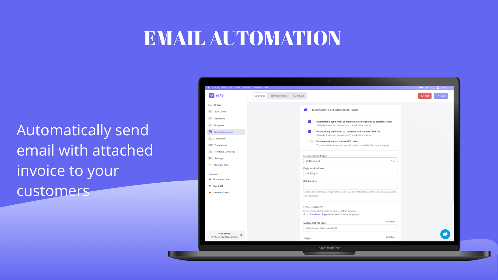 Email automation - Shopify order