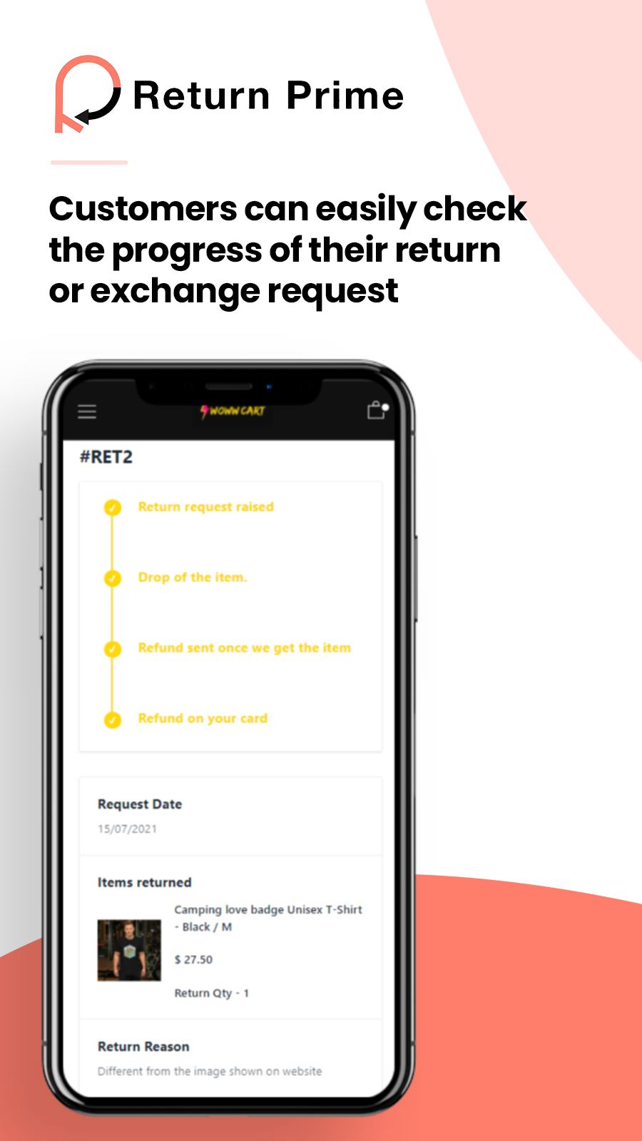 Return/Exchange tracking page for customers
