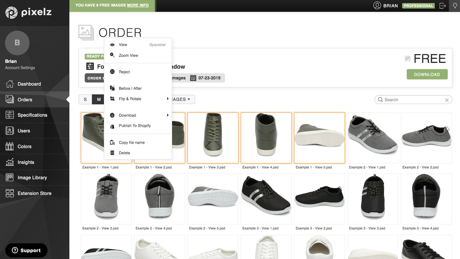 Publish retouched images directly to your Shopify store
