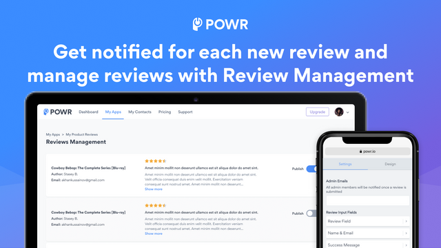 Product Review email notifications and review management.