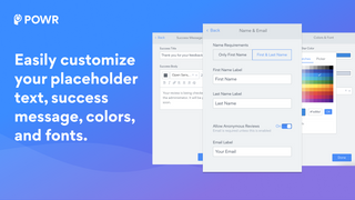 POWR Product Reviews app settings panel for customization