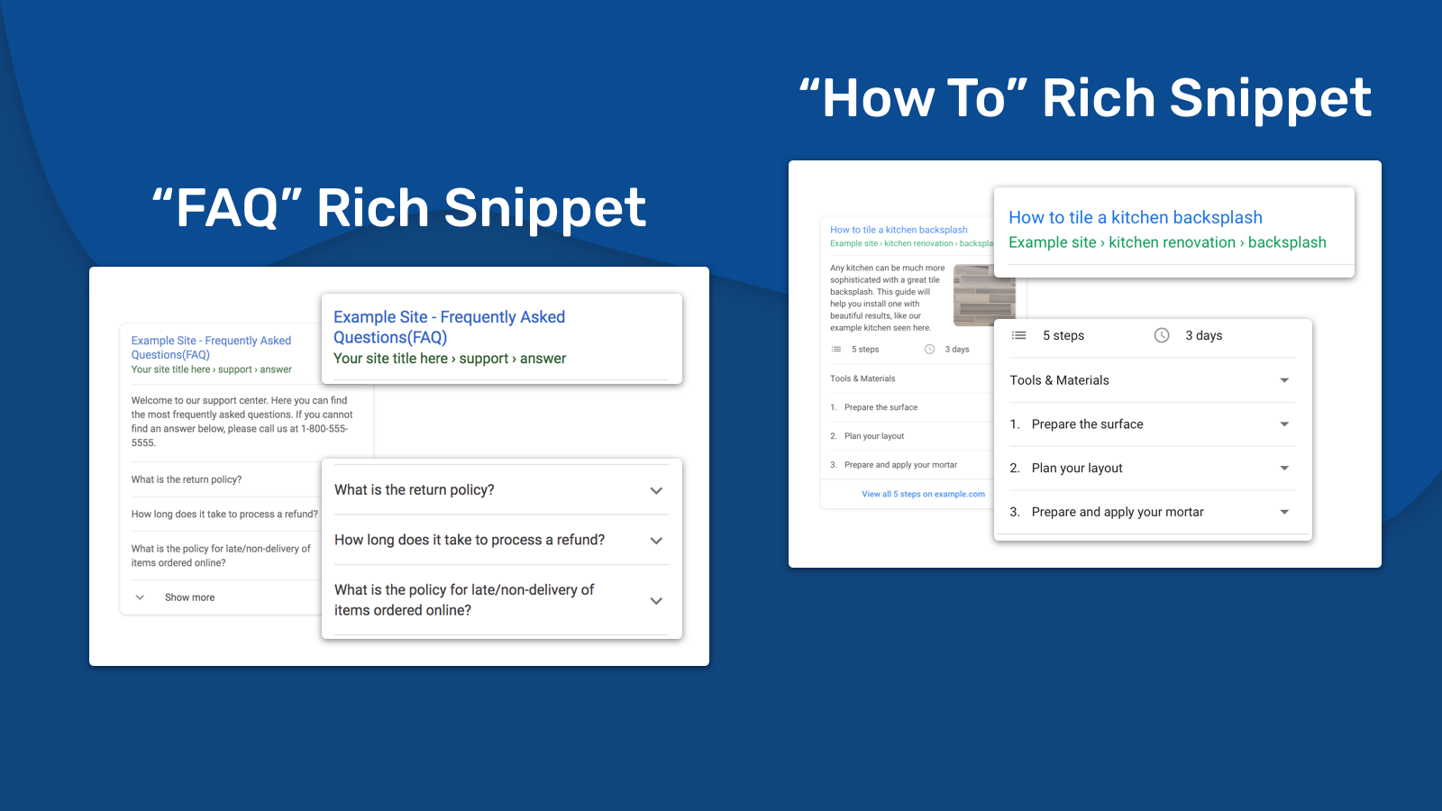 HowTo rich snippets