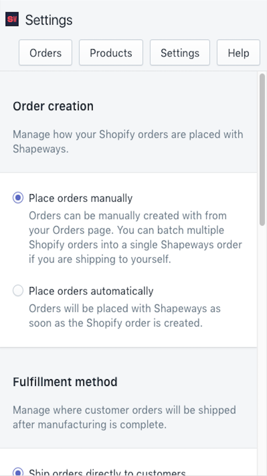 Mobile View of Shapeways Fulfillment Shopify App Settings Page
