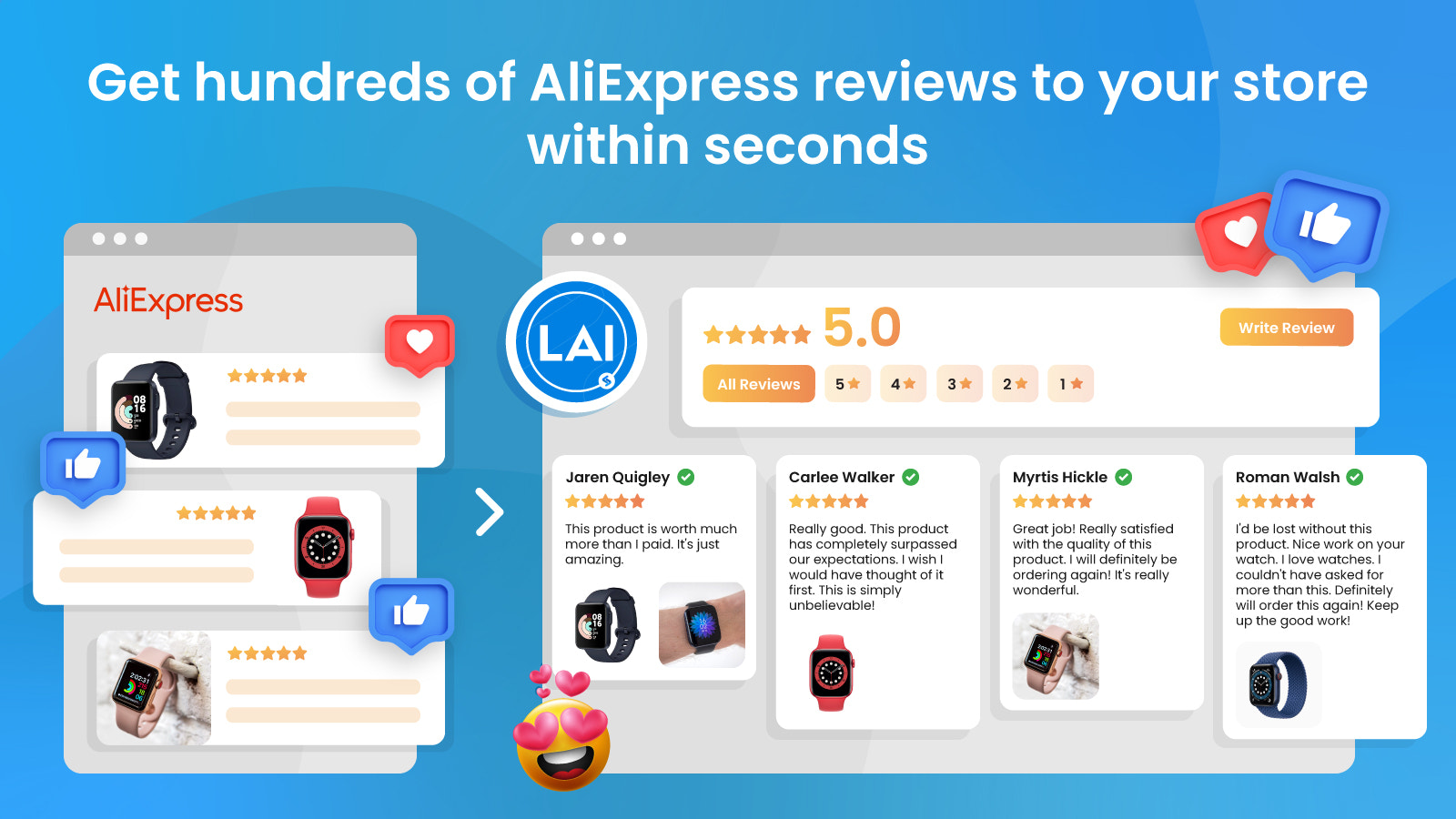 easy to import thousands of aliexpress reviews