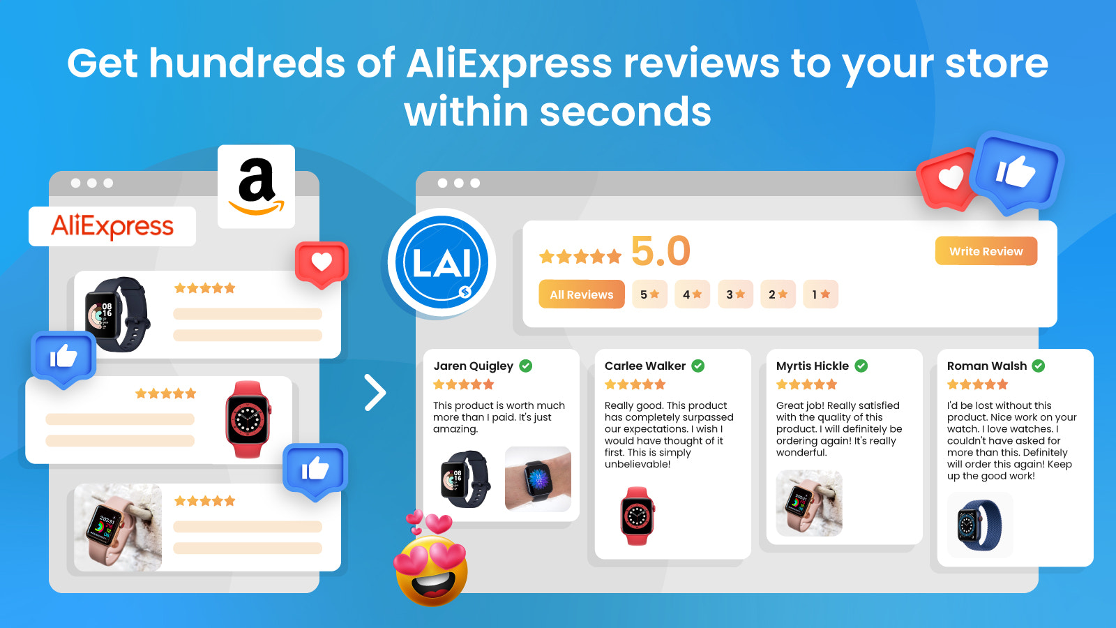 easy to import thousands of aliexpress reviews amazon reviews