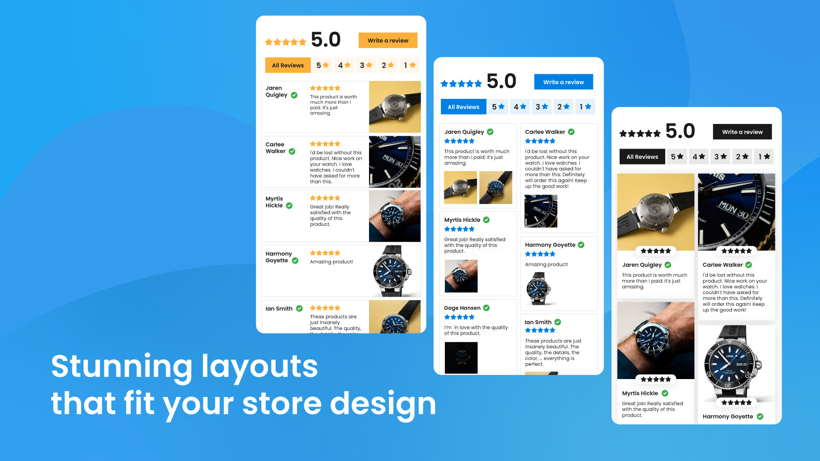 review widget layouts to improve store design