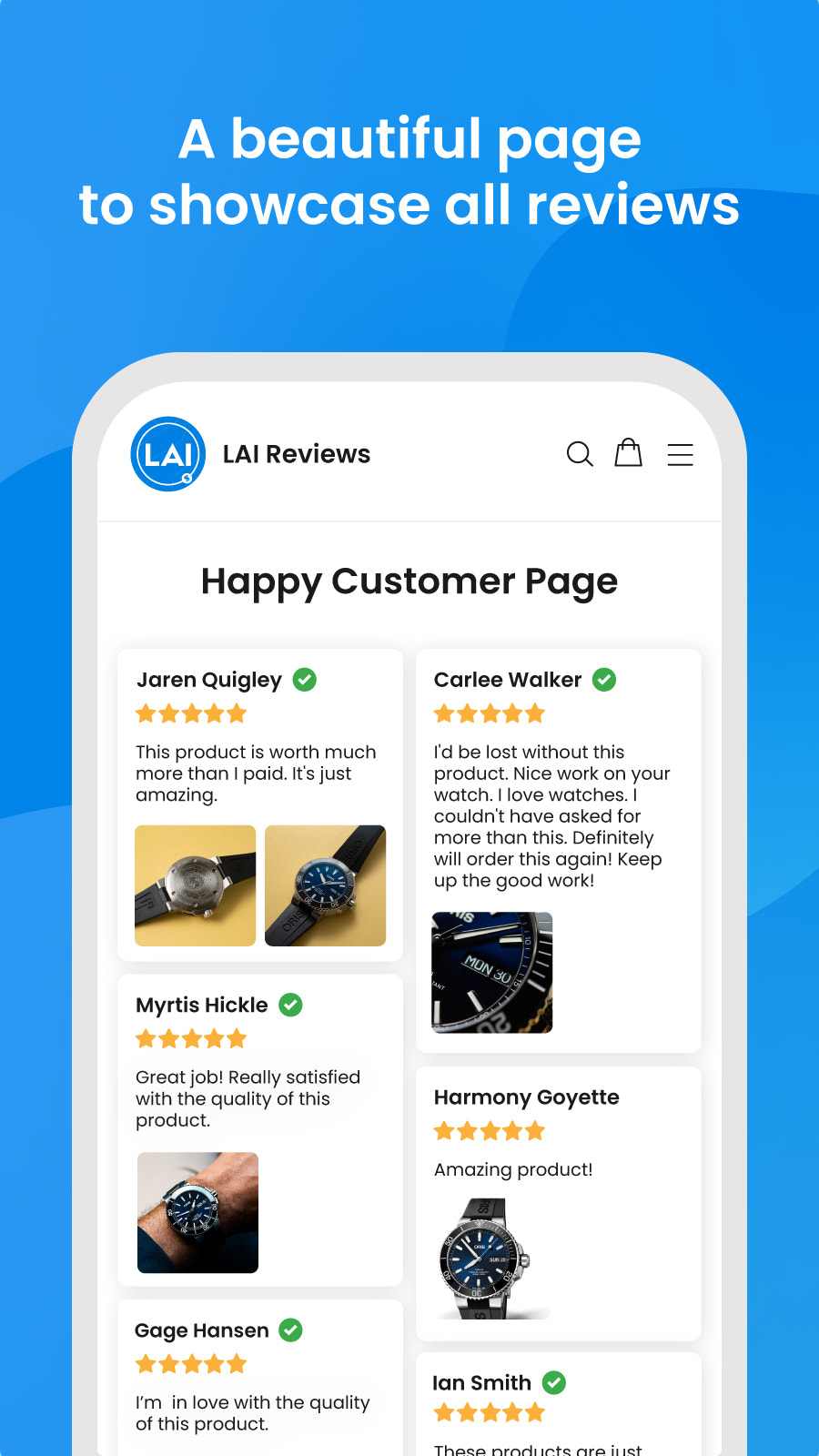 shopify review page to showcase product reviews