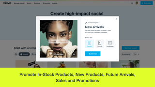 Promote in-stock products, new products, future arrivals, sales