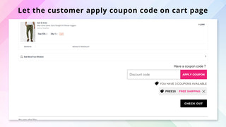 apply discount on cart page