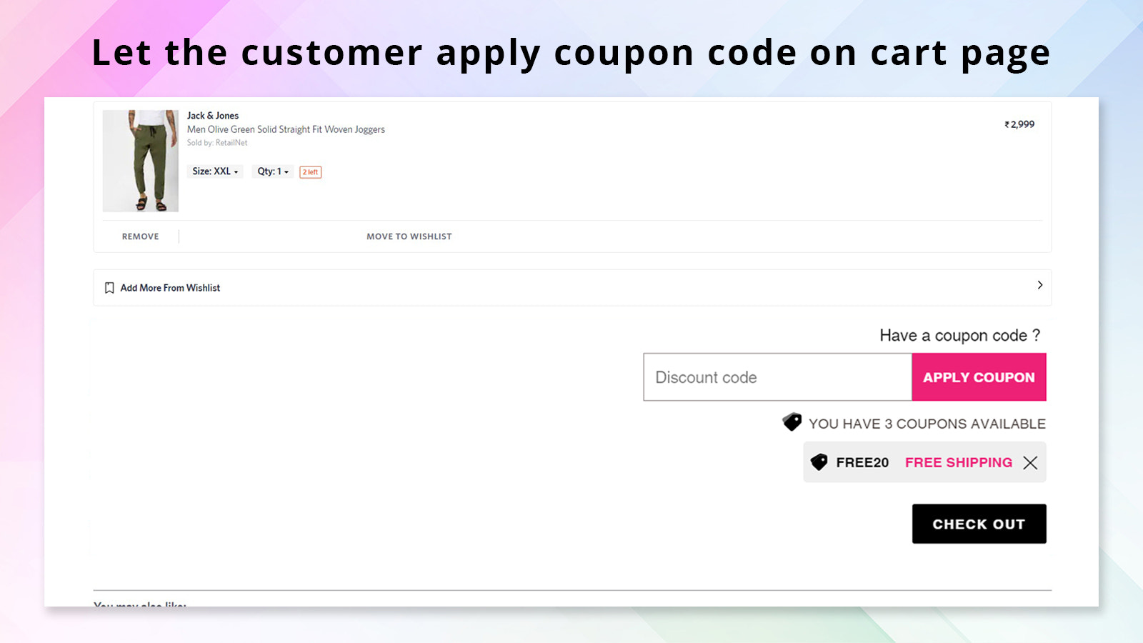 apply discount on cart page or drawer
