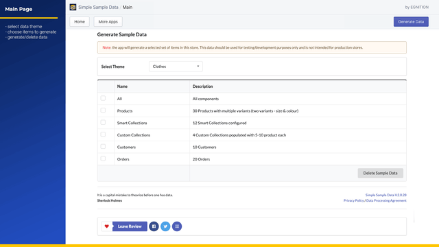 Shopify Sample Data Main Page