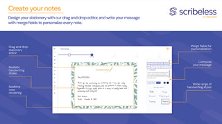 Design your stationery, write your message, choose handwriting