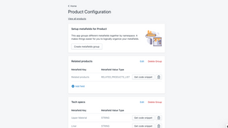 Product configuration page -- add metafields key