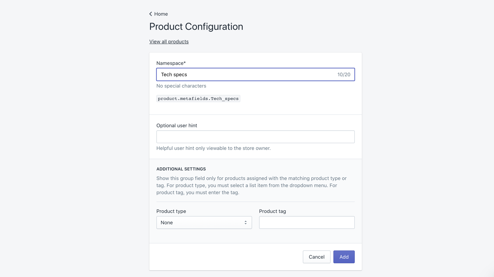 Product configuration page -- add group