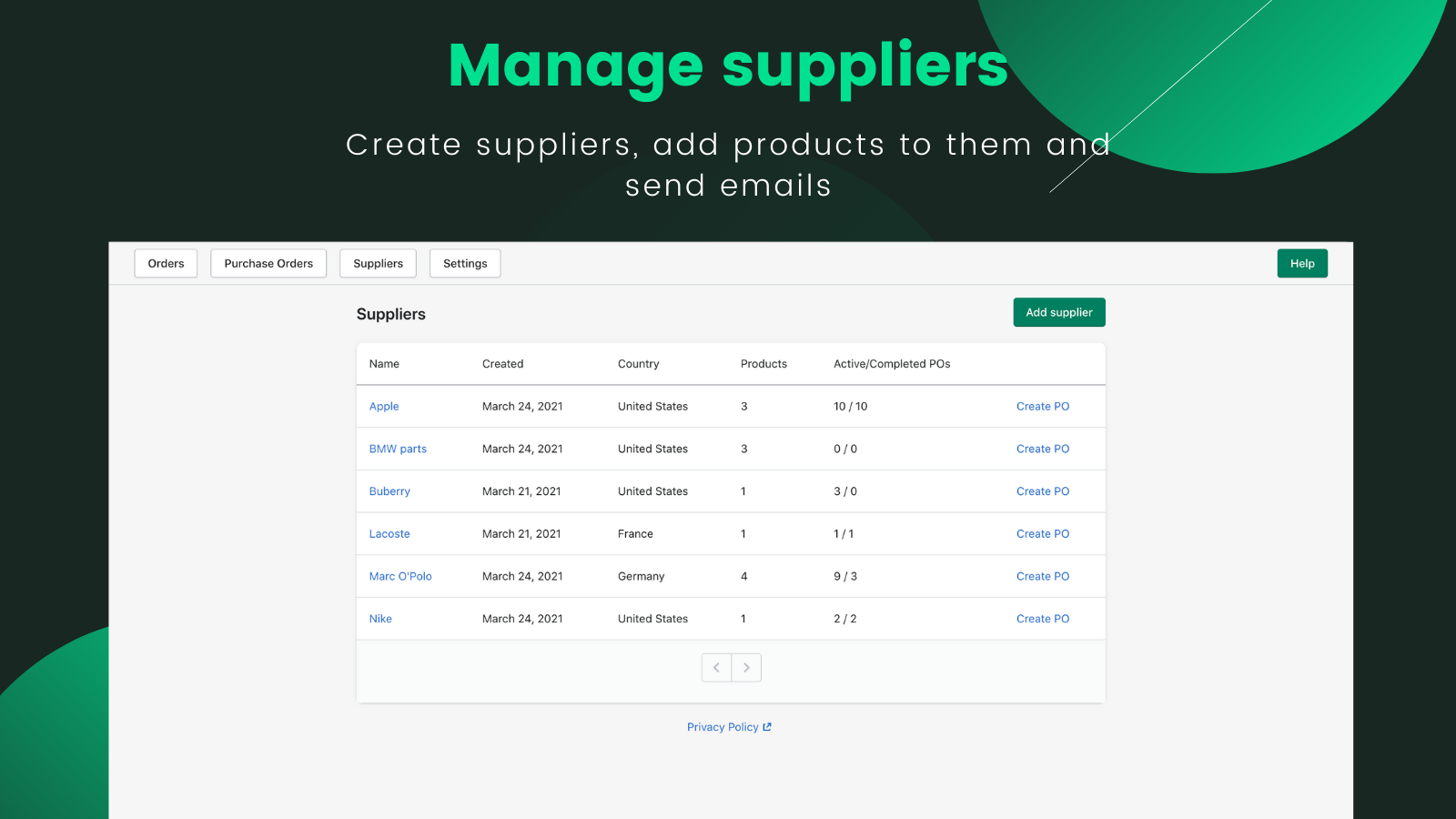 Manage suppliers. Create supplier, update and delete