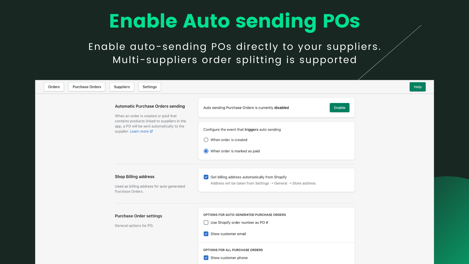 Enable auto sending purchase orders from shopify orders
