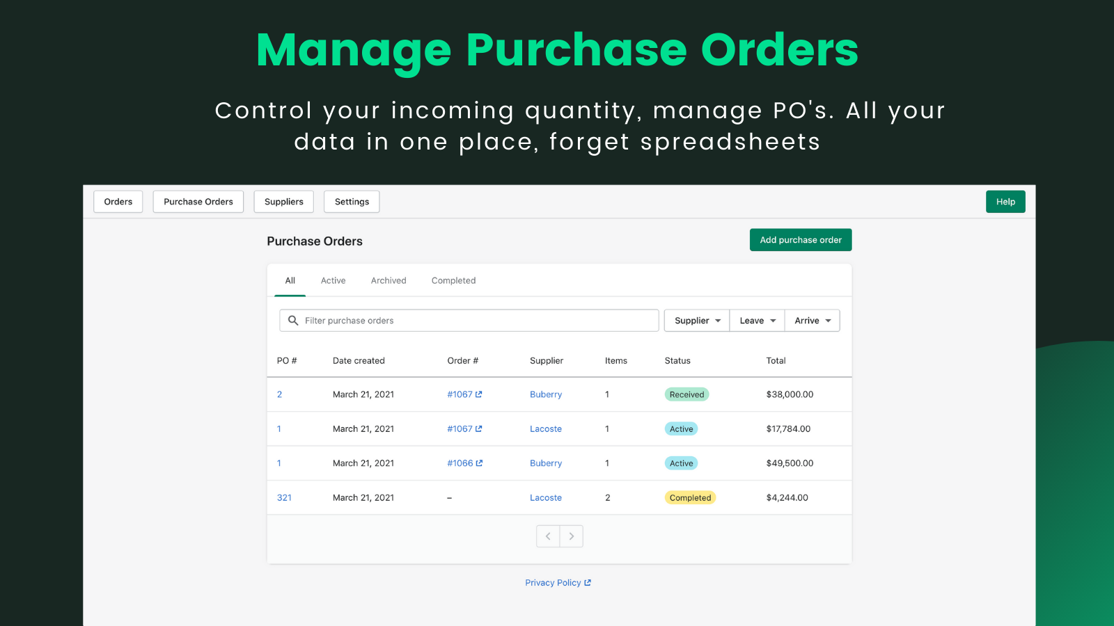 Manage Purchase Orders in single place, take control