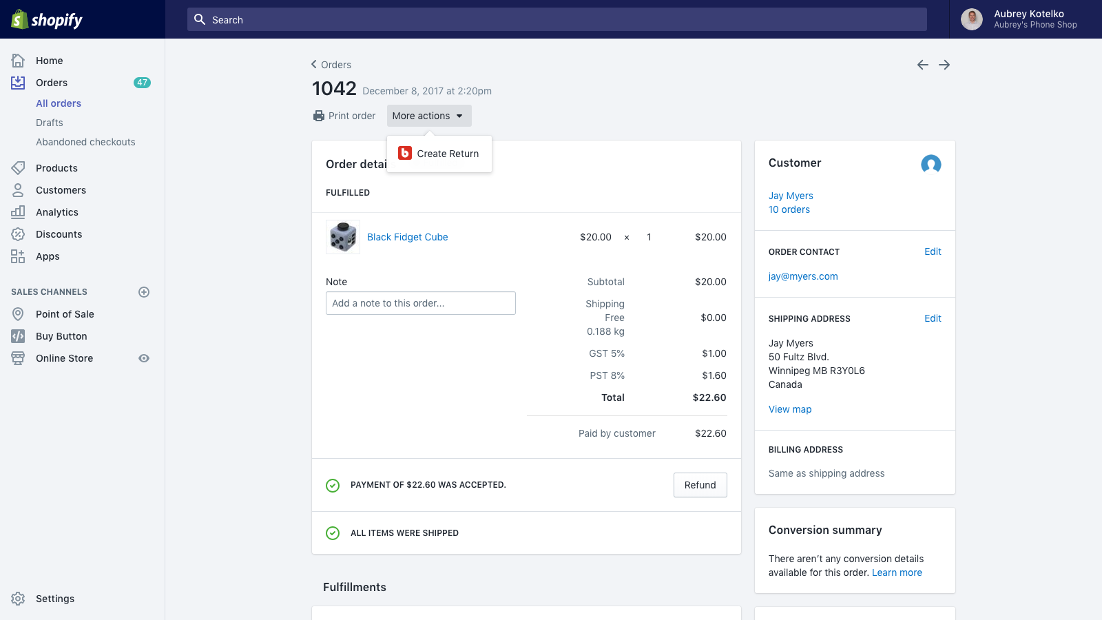 Manually create returns directly from Shopify orders