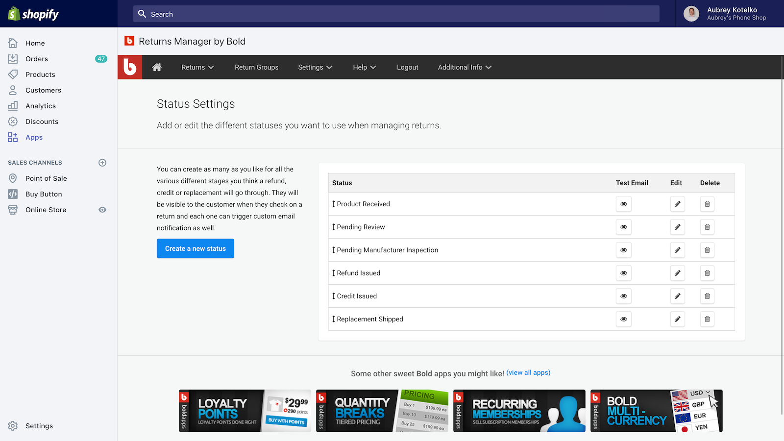 Configure custom statuses to keep track of your return requests