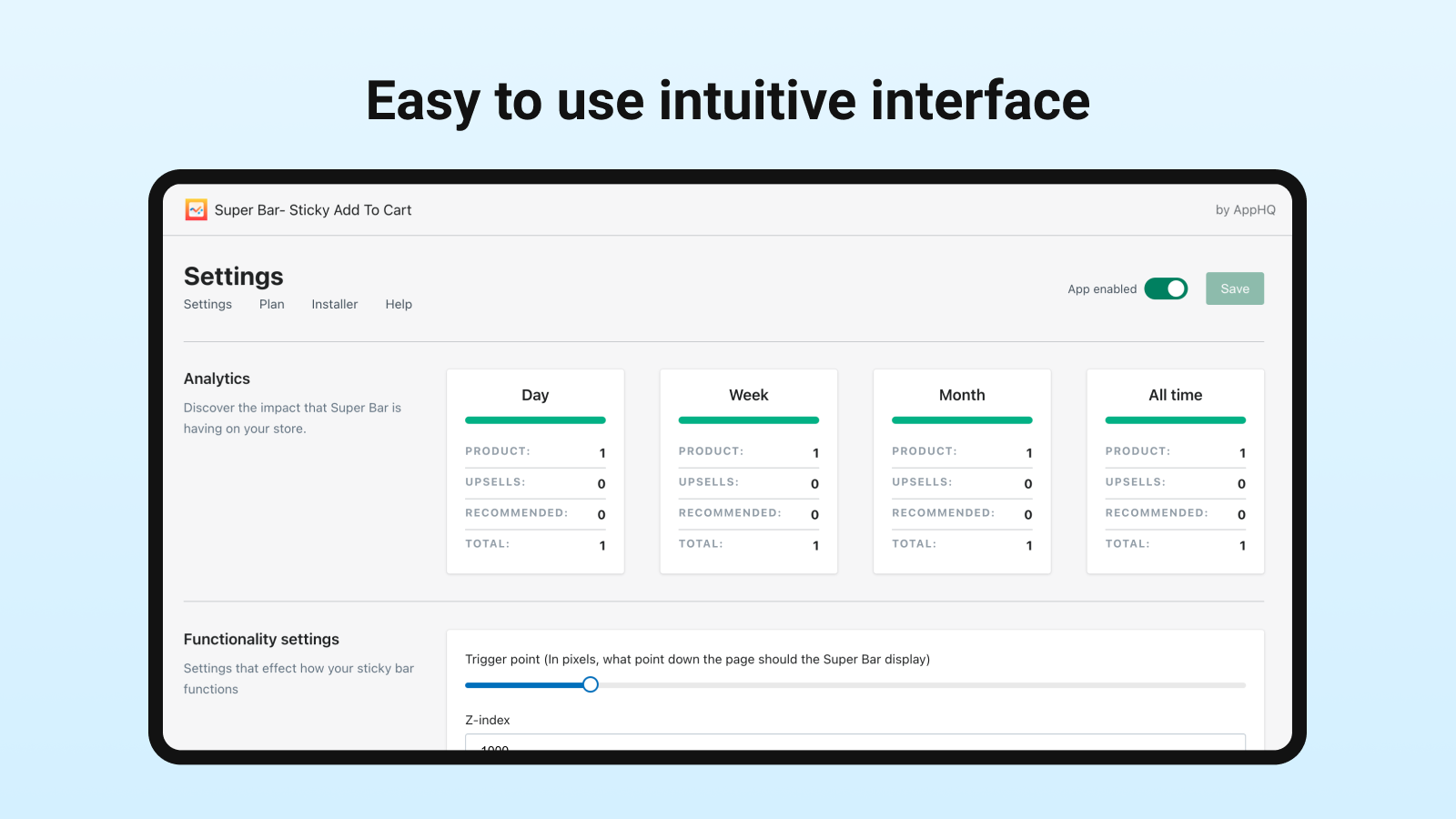 Simple intuitive interface