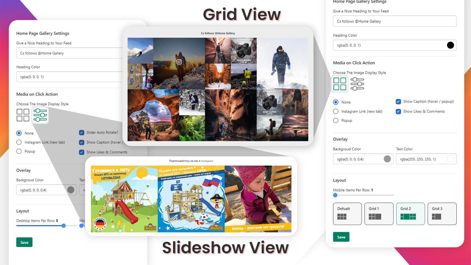 Instagram feed layout Grid and slider