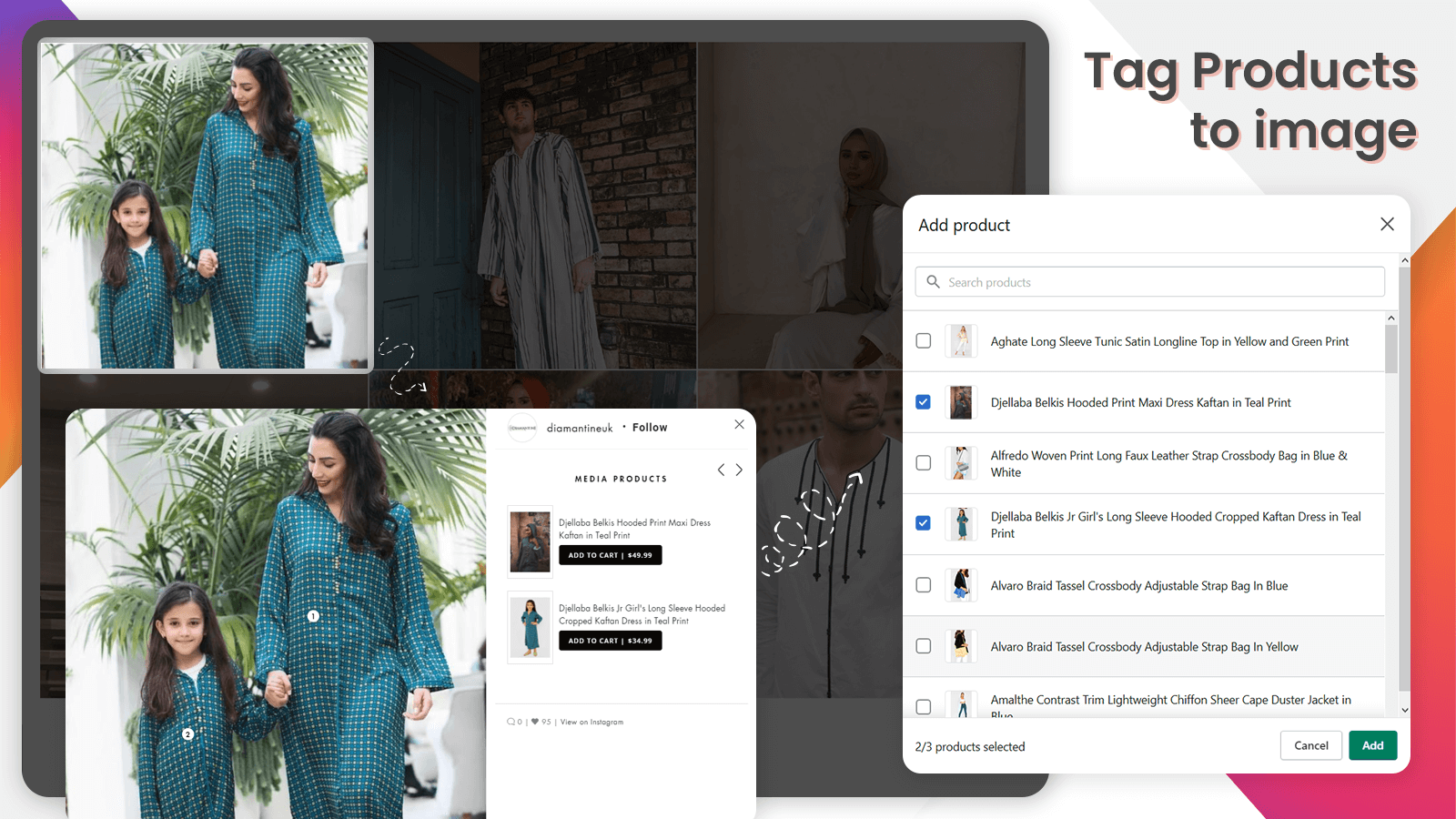 Tag your product with Instagram feed