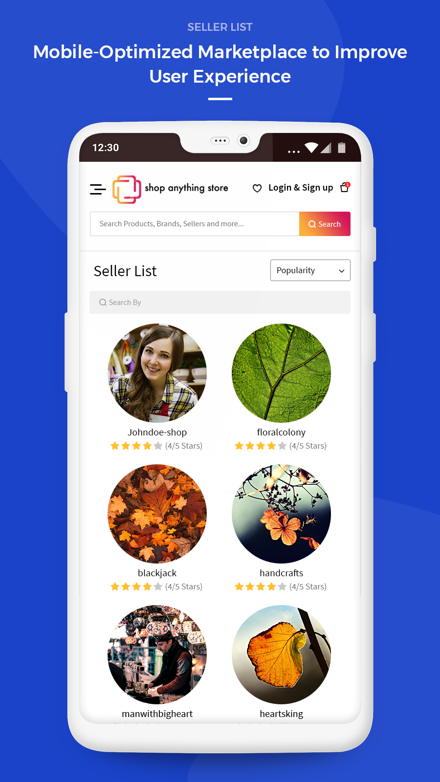 seller list page mobile view