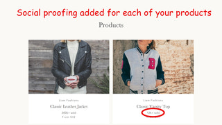 Social proofing added for each of your products