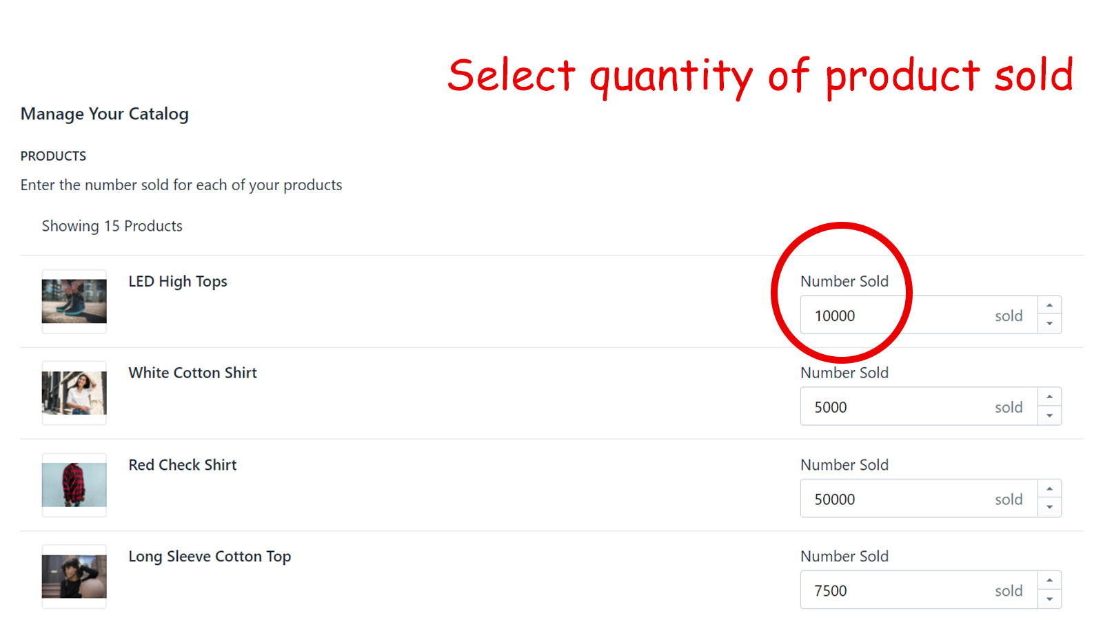 Select quantity of product sold