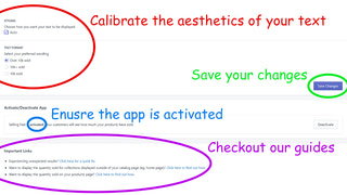 Calibrate aesthetics, activate app and save