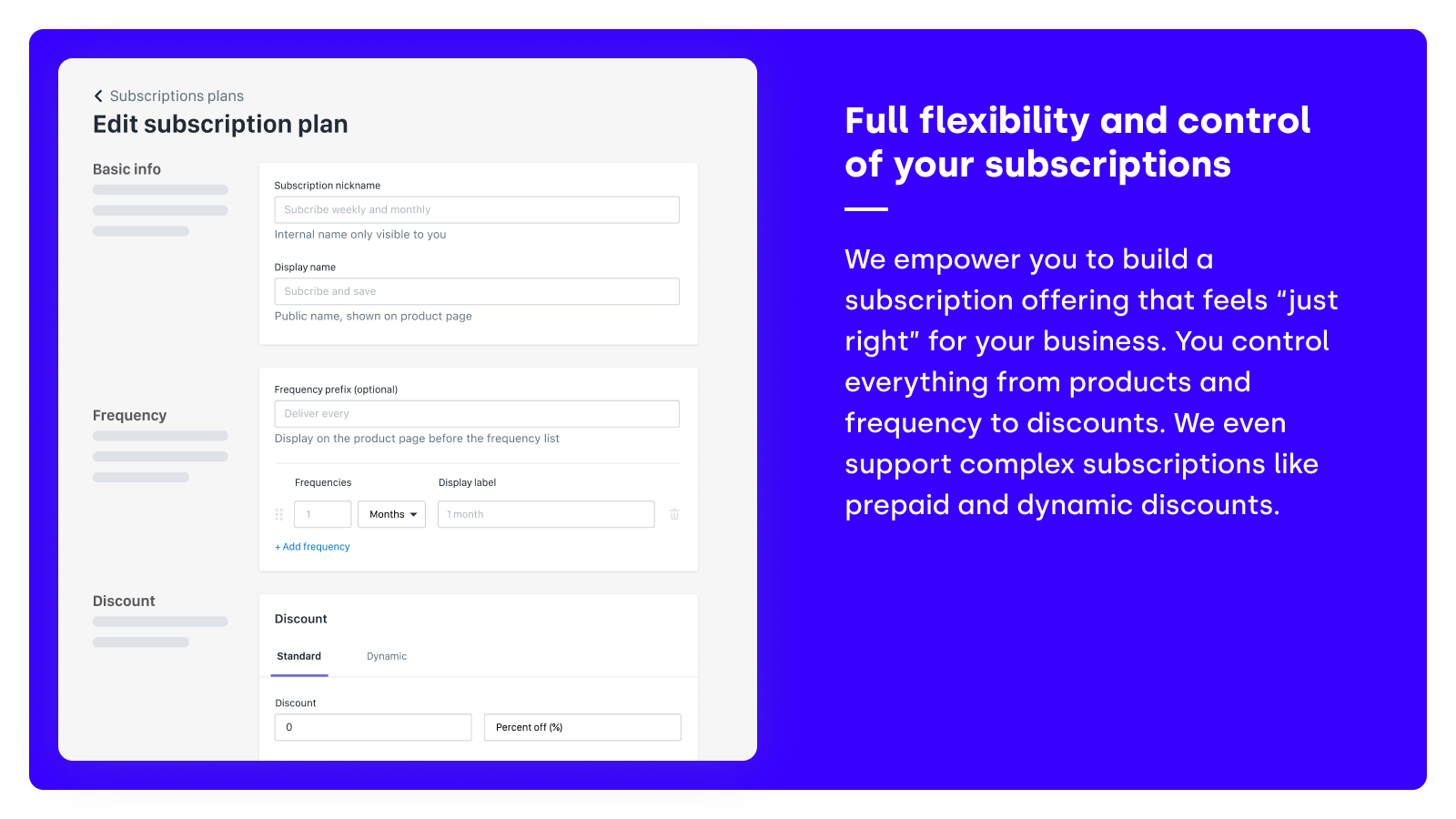 Full flexibility and control of your subscriptions